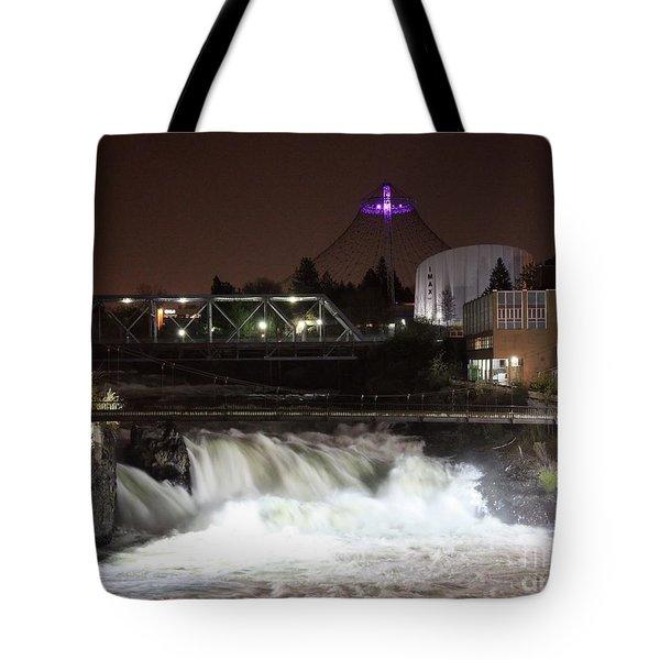 Spokane Falls Night Scene Tote Bag by Carol Groenen