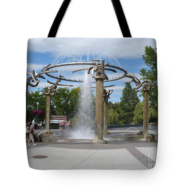Spokane Fountain Tote Bag by Carol Groenen