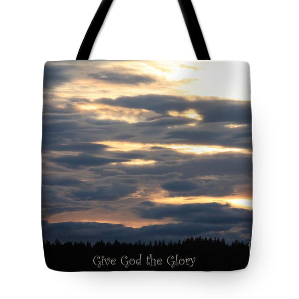 Spokane Sunset - Give God The Glory Tote Bag by Carol Groenen