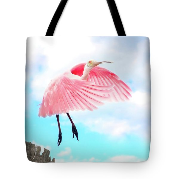 Spoonbill Launch Tote Bag by Mark Andrew Thomas