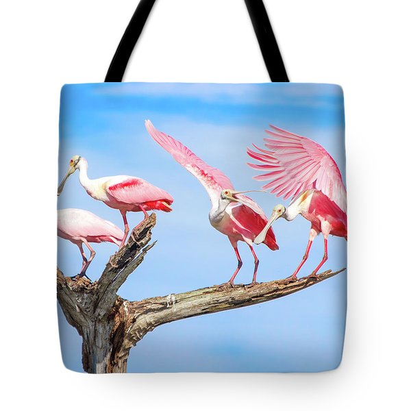 Spoonbill Party Tote Bag by Mark Andrew Thomas