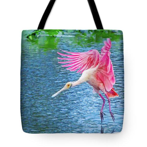 Spoonbill Splash Tote Bag by Mark Andrew Thomas