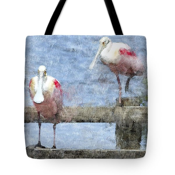 Spoonbills Hanging Out Tote Bag by Betty LaRue