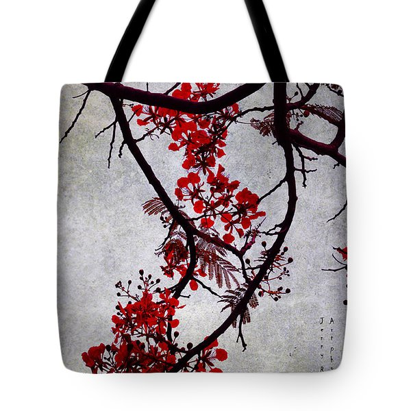 Spring Bloosom In Maldives. Flamboyant Tree II. Japanese Style Tote Bag by Jenny Rainbow