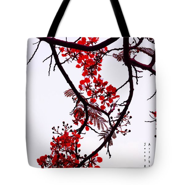 Spring Bloosom In Maldives. Flamboyant Tree Tote Bag by Jenny Rainbow
