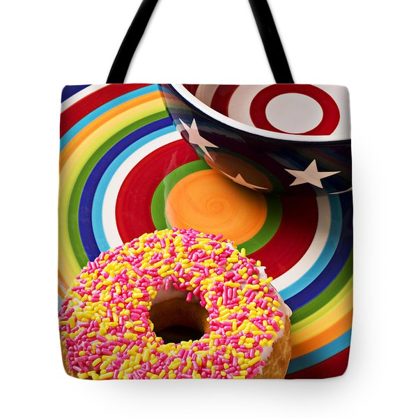Sprinkled donut on circle plate with bowl Tote Bag by Garry Gay