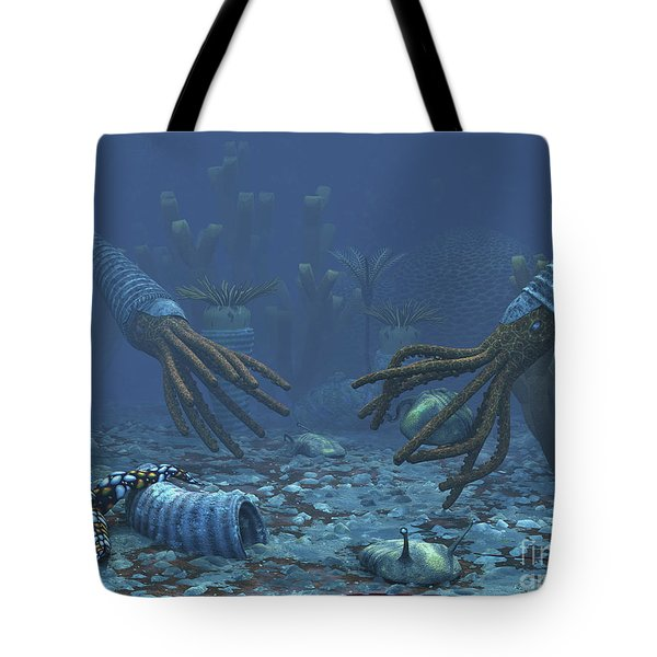 Squid-like Orthoceratites Attempt Tote Bag by Walter Myers