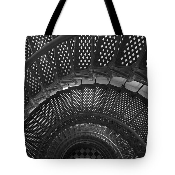 St. Augustine Lighthouse Spiral Staircase I Tote Bag by Clarence Holmes