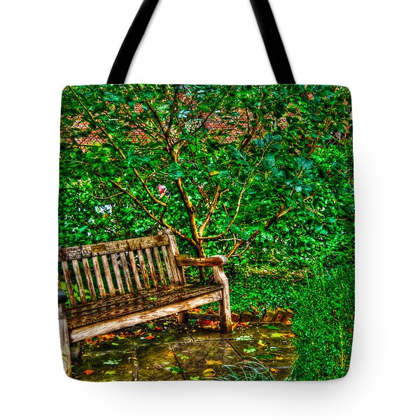 St. Luke In The Field Garden Bench Tote Bag by Randy Aveille