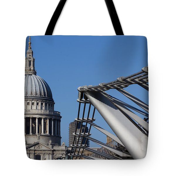 St Pauls Cathedral And The Millenium Bridge  Tote Bag by David Pyatt