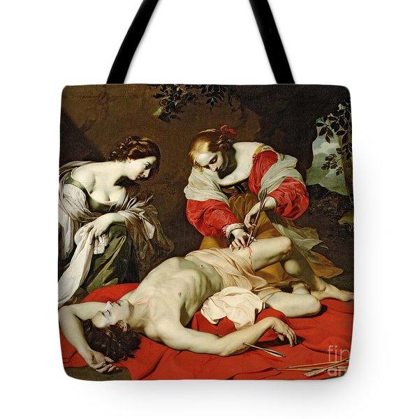 St Sebastian Tended By The Holy Irene Tote Bag by Nicholas Renieri