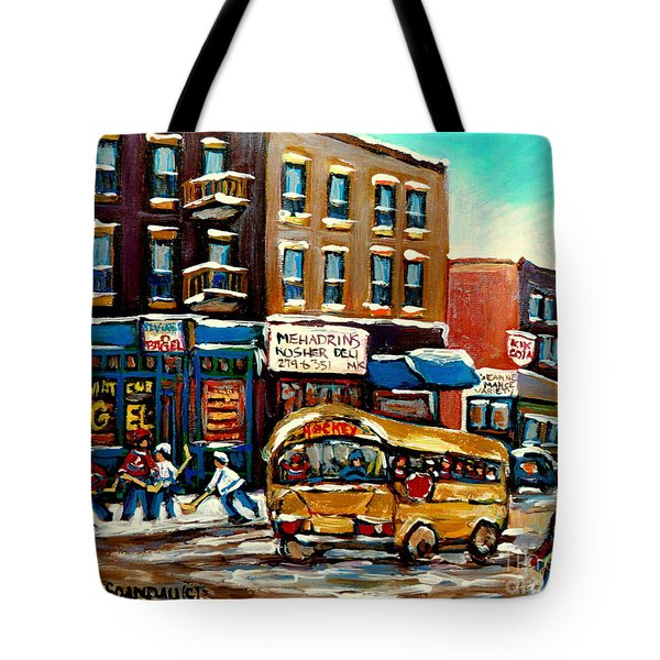 St. Viateur Bagel With Hockey Bus Tote Bag by Carole Spandau