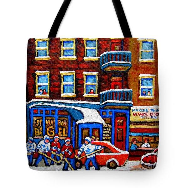St Viateur Bagel With Hockey Montreal Winter Street Scene Tote Bag by Carole Spandau