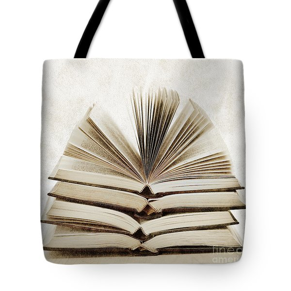 Stack Of Open Books Tote Bag by Elena Elisseeva