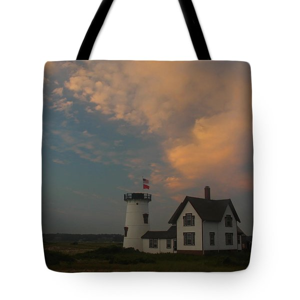 Stage Harbor Lighthouse Tote Bag by Juergen Roth
