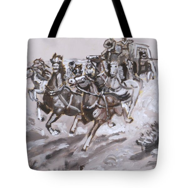 Stagecoach Attacked Historical Vignette Tote Bag by Dawn Senior-Trask