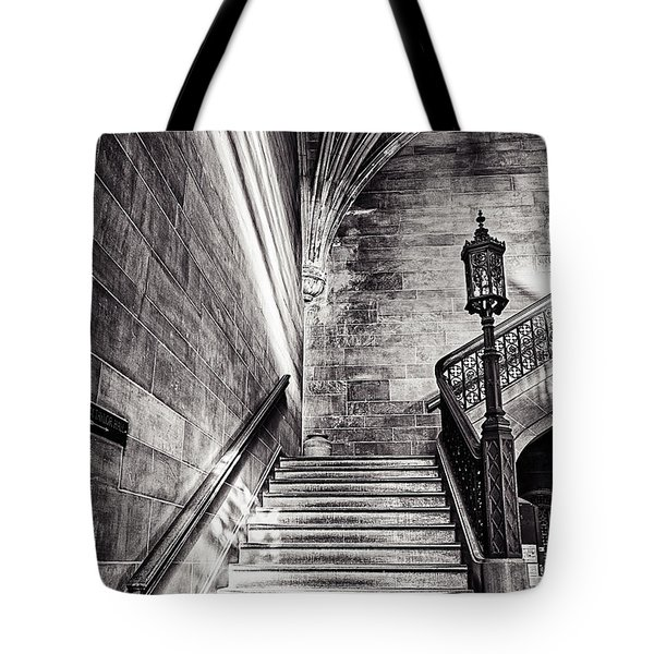 Stairs Of The Past Tote Bag by CJ Schmit