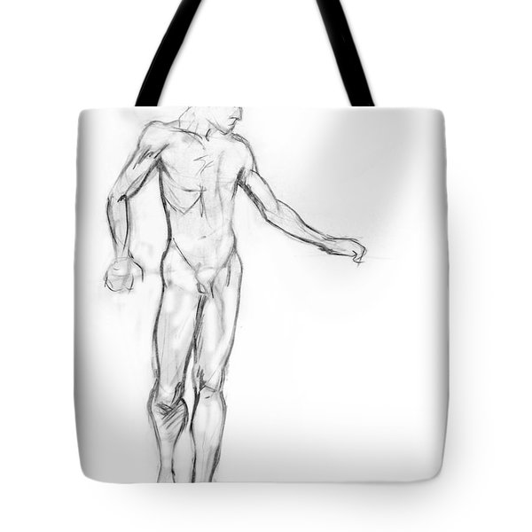 Standing Male Nude Tote Bag by Adam Long