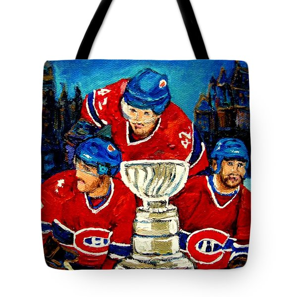 STANLEY CUP WIN IN SIGHT PLAYOFFS   2010 Tote Bag by CAROLE SPANDAU