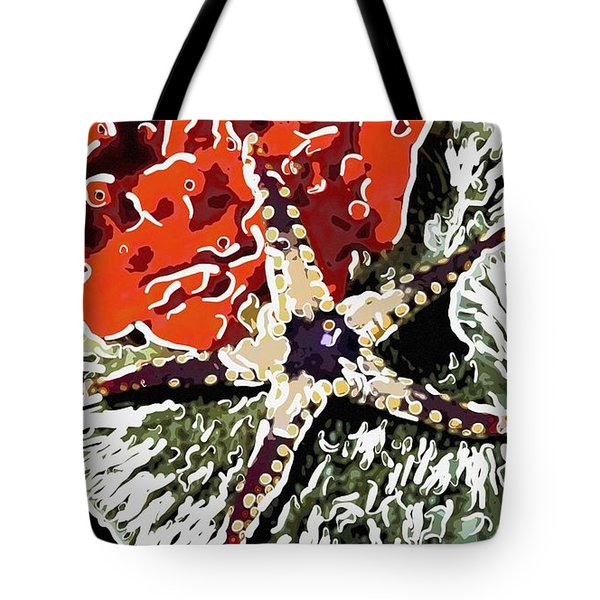 Starfish In Coral Reef 7 Tote Bag by Lanjee Chee