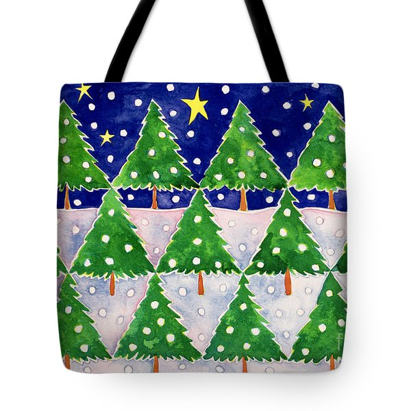 Stars And Snow Tote Bag by Cathy Baxter
