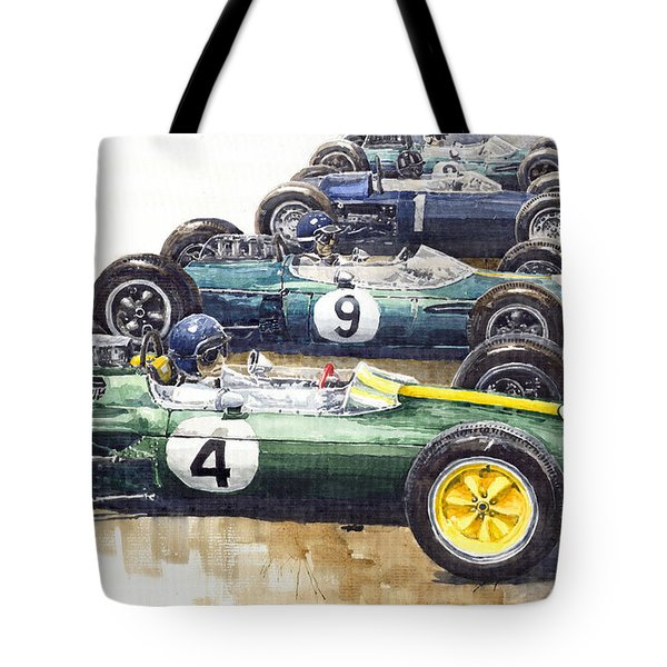 Start British GP 1963 - Lotus  Brabham  BRM  Brabham Tote Bag by Yuriy  Shevchuk