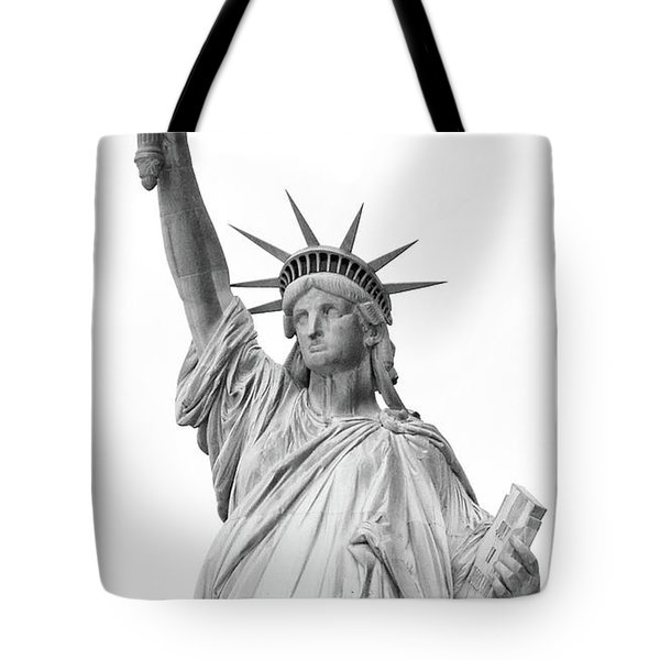 Statue Of Liberty, Black And White Tote Bag by Sandy Taylor