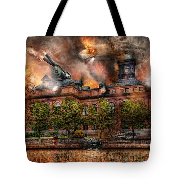 Steampunk - The War Has Begun Tote Bag by Mike Savad