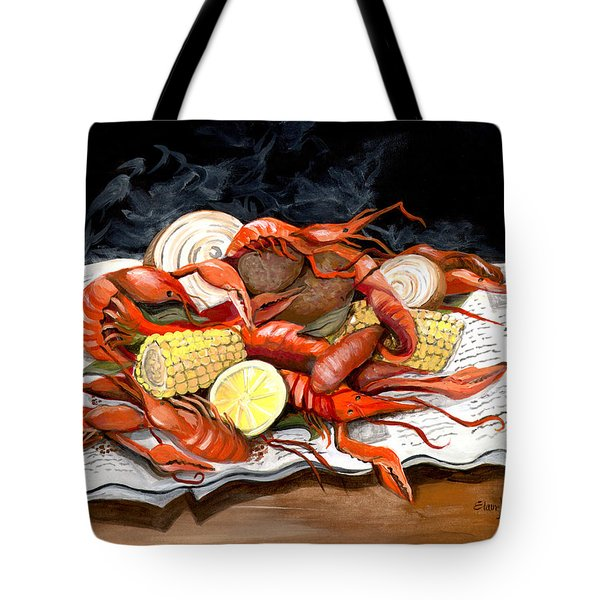 Steamy Crawfish Tote Bag by Elaine Hodges
