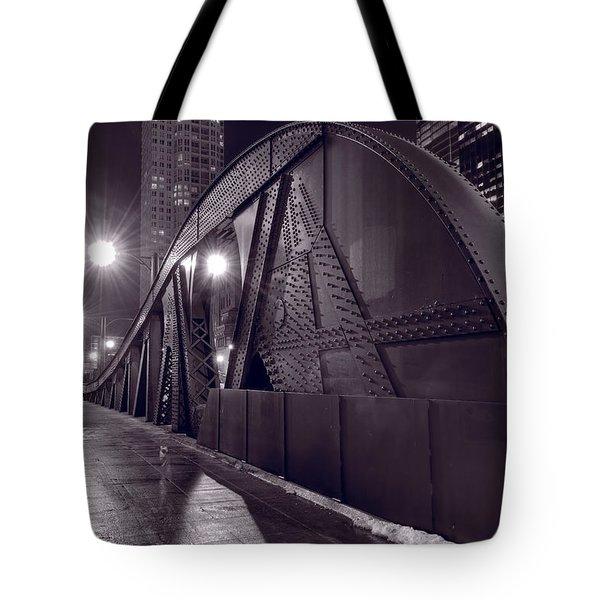 Steel Bridge Chicago Black And White Tote Bag by Steve Gadomski