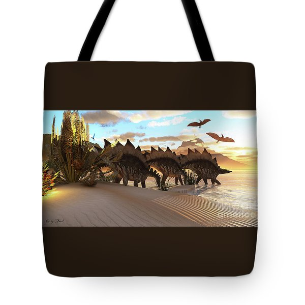 Stegosaurus Dinosaur Tote Bag by Corey Ford