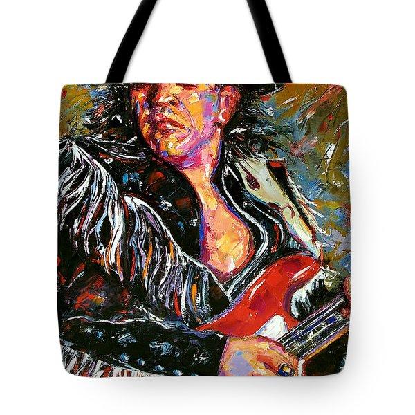 Stevie Ray Red Guitar Tote Bag by Debra Hurd