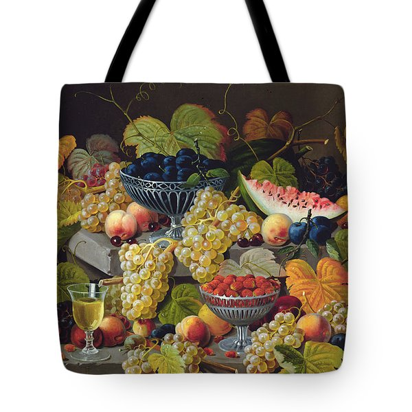 Still Life Of Melon Plums Grapes Cherries Strawberries On Stone Ledge Tote Bag by Severin Roesen