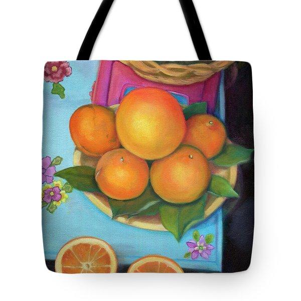 Still Life Oranges And Grapefruit Tote Bag by Marlene Book