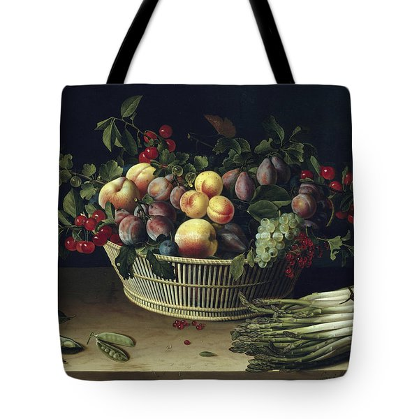 Still Life With A Basket Of Fruit And A Bunch Of Asparagus Tote Bag by Louise Moillon
