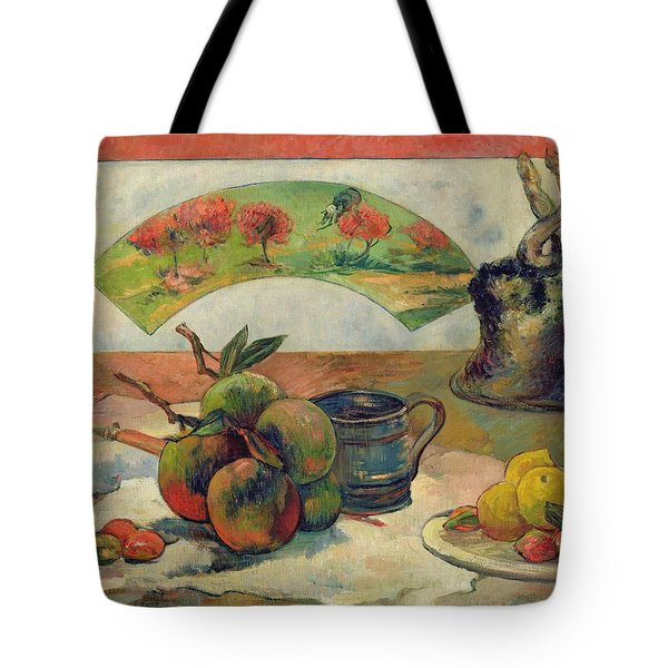 Still Life With A Fan Tote Bag by Paul Gauguin