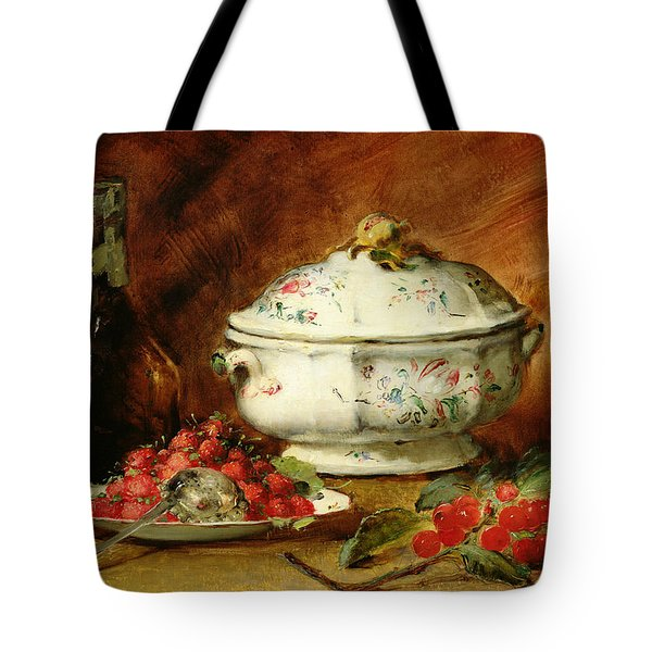 Still Life With A Soup Tureen Tote Bag by Guillaume Romain Fouace
