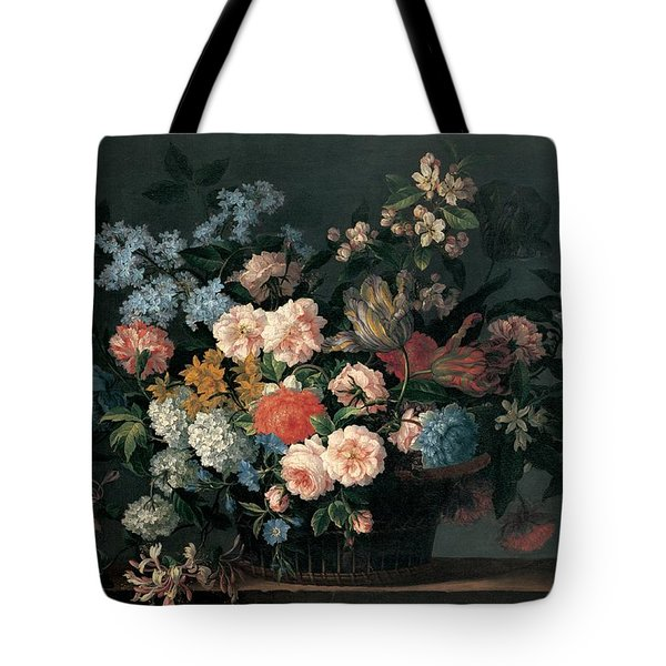 Still Life With Basket Of Flowers Tote Bag by Jean-Baptiste Monnoyer