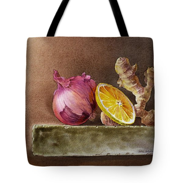 Still Life With Onion Lemon And Ginger Tote Bag by Irina Sztukowski