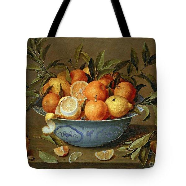 Still Life With Oranges And Lemons In A Wan-li Porcelain Dish  Tote Bag by Jacob van Hulsdonck