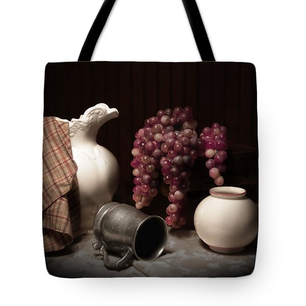 Still Life With Pitcher And Grapes Tote Bag by Tom Mc Nemar