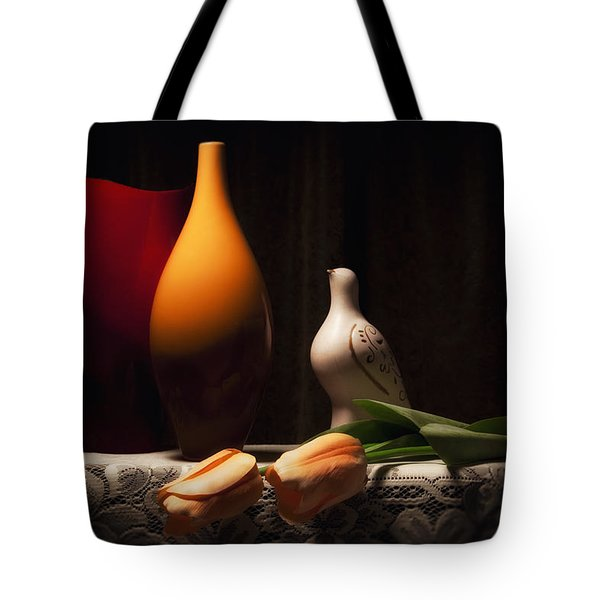 Still Life with Vases and Tulips Tote Bag by Tom Mc Nemar