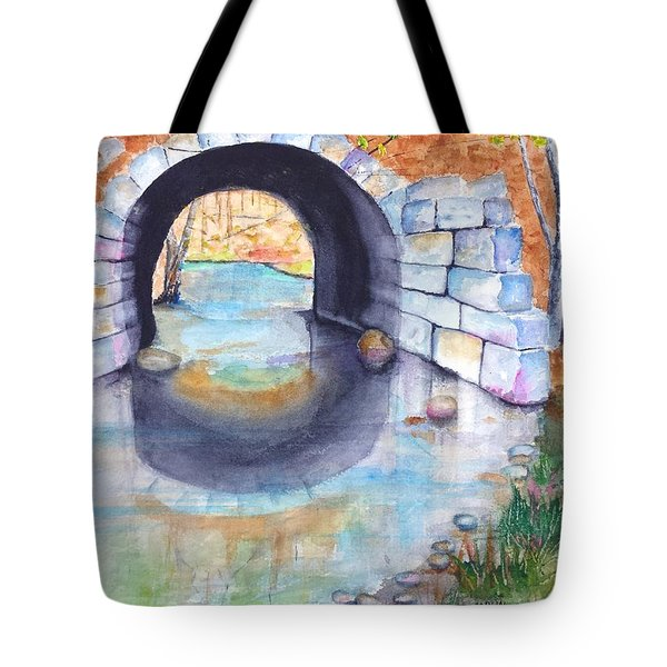 Stone Arch Bridge Dunstable Tote Bag by Carlin Blahnik