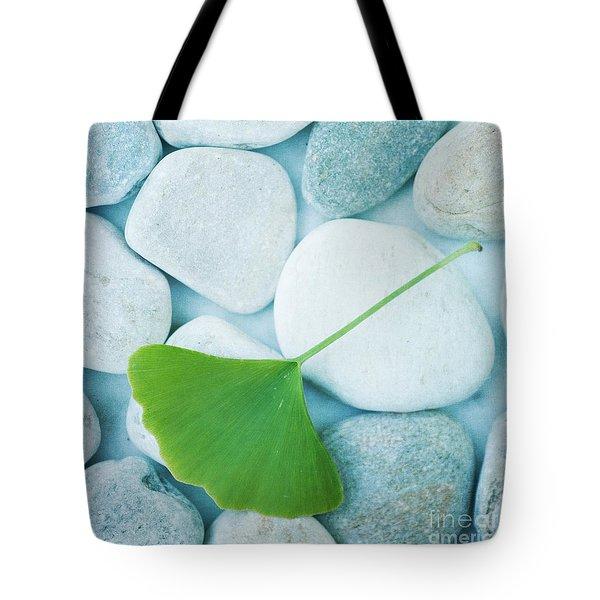 Stones And A Gingko Leaf Tote Bag by Priska Wettstein