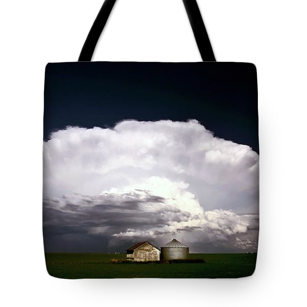 Storm Clouds Over Saskatchewan Granaries Tote Bag by Mark Duffy
