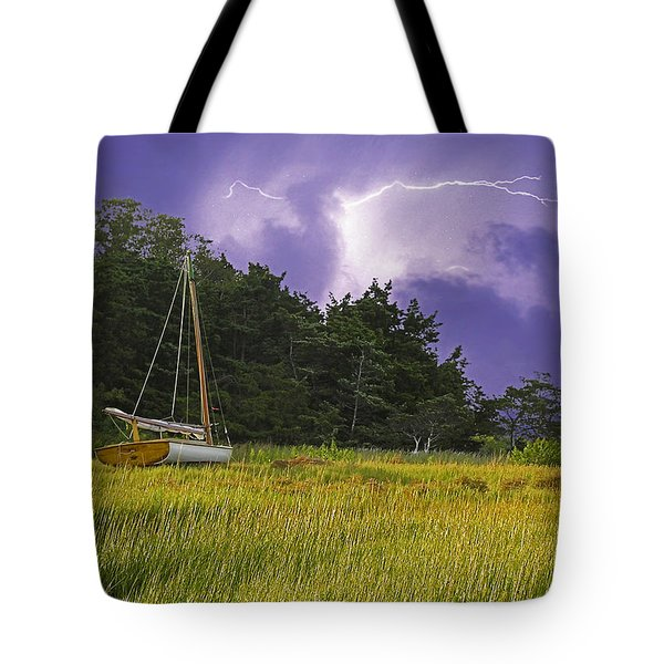 Storm Over Knott's Island Tote Bag by Charles Harden