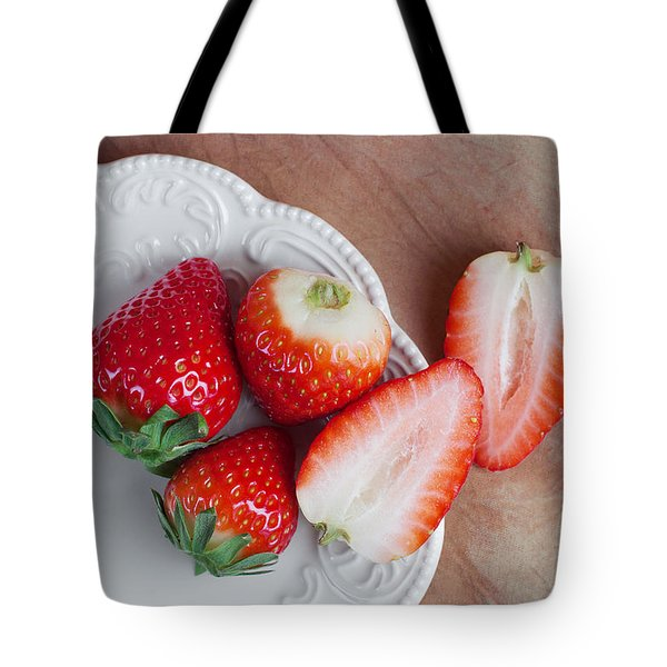 Strawberries From Above Tote Bag by Tom Mc Nemar