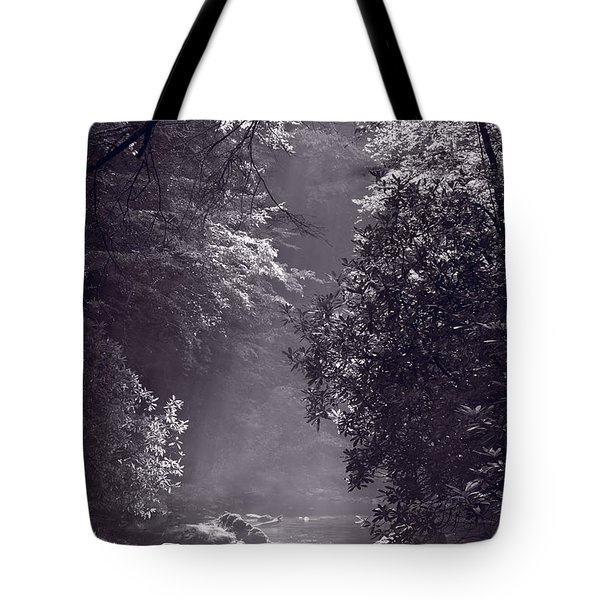 Stream Light B W Tote Bag by Steve Gadomski