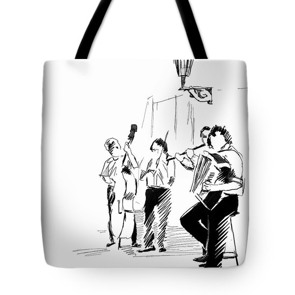 Street Musicians In Prague In The Czech Republic 02 Tote Bag by Miki De Goodaboom