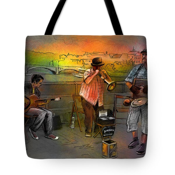 Street Musicians in Prague in the Czech Republic 03 Tote Bag by Miki De Goodaboom